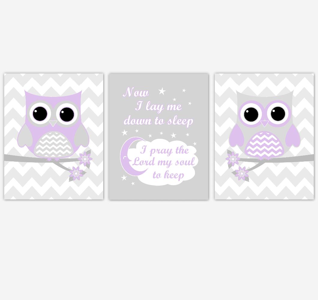 Owl Baby Girl Nursery Wall Art Purple Gray Lavender Birds Baby Nursery Decor Prints 01849