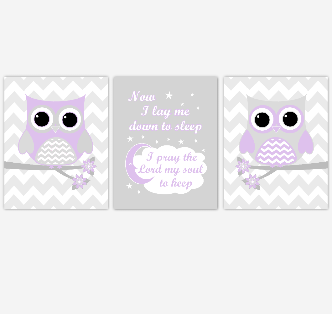 Owl Baby Girl Nursery Wall Art Purple Gray Lavender Birds Baby Nursery Decor Prints