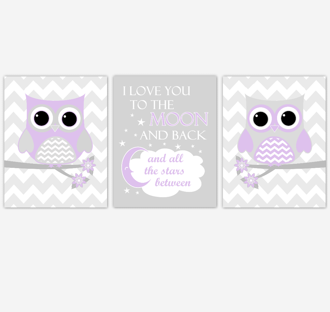 Owl Baby Girl Nursery Wall Art Purple Gray Lavender Birds Baby Nursery Decor Prints 01850