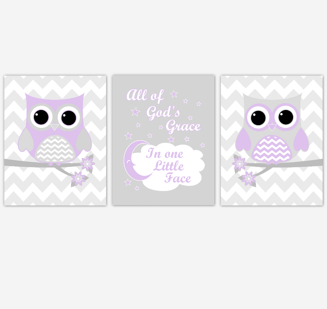 Owl Baby Girl Nursery Wall Art Purple Gray Lavender Birds Baby Nursery Decor Prints 01853