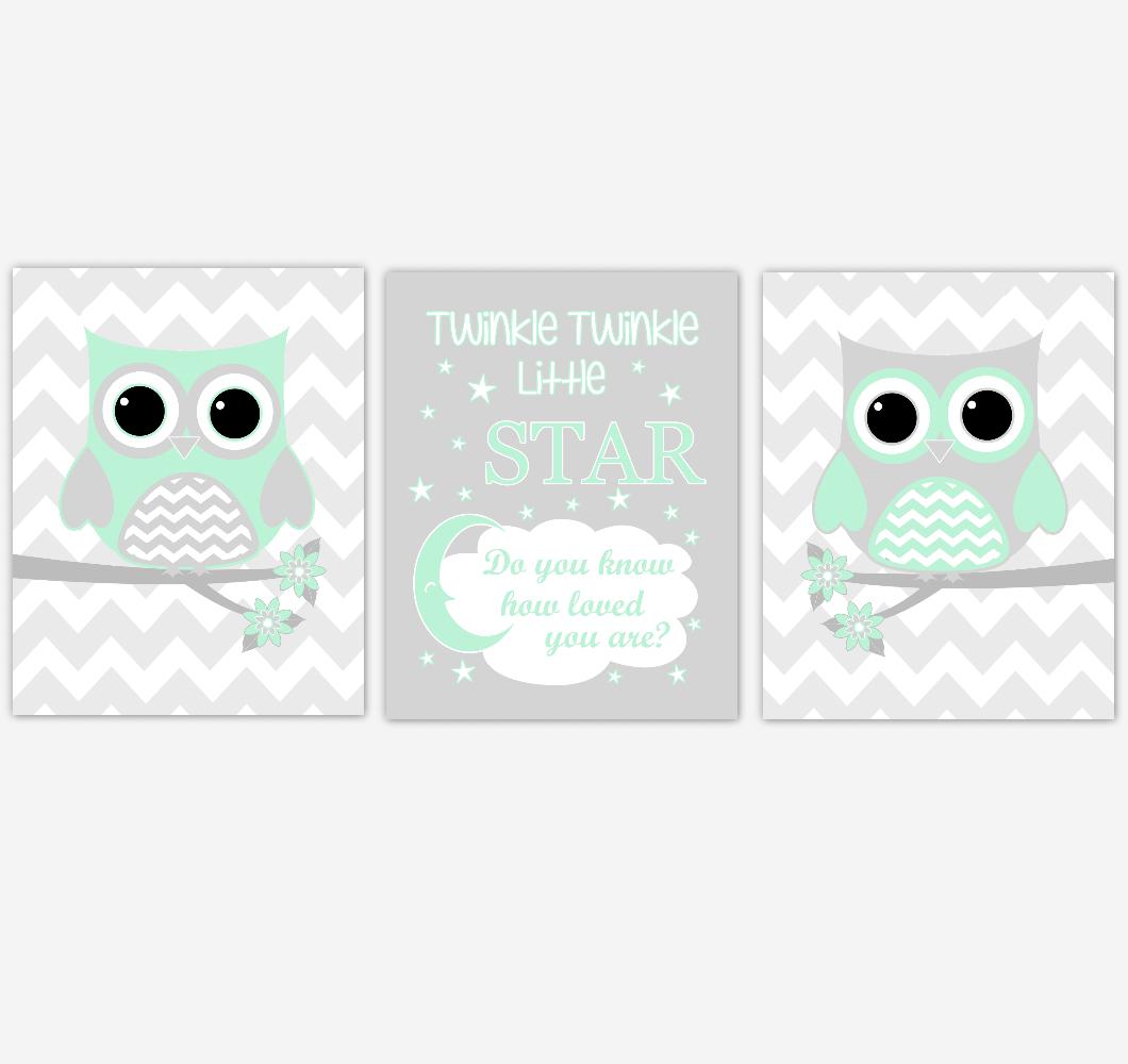 Owl Baby Girl Nursery Wall Art Mint Green Gray Birds Baby Nursery Decor Prints 01854