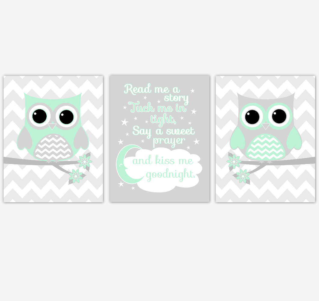 Owl Baby Girl Nursery Wall Art Mint Green Gray Birds Baby Nursery Decor Prints 01855