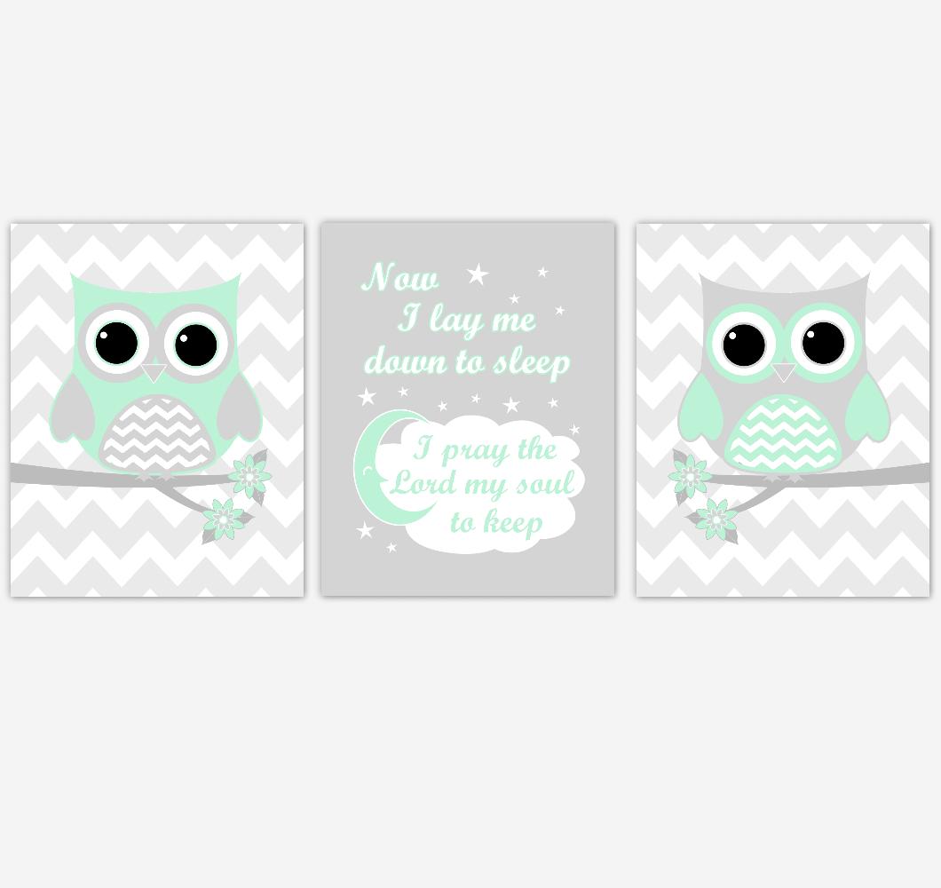 Owl Baby Girl Nursery Wall Art Mint Green Gray Birds Baby Nursery Decor Prints 01857