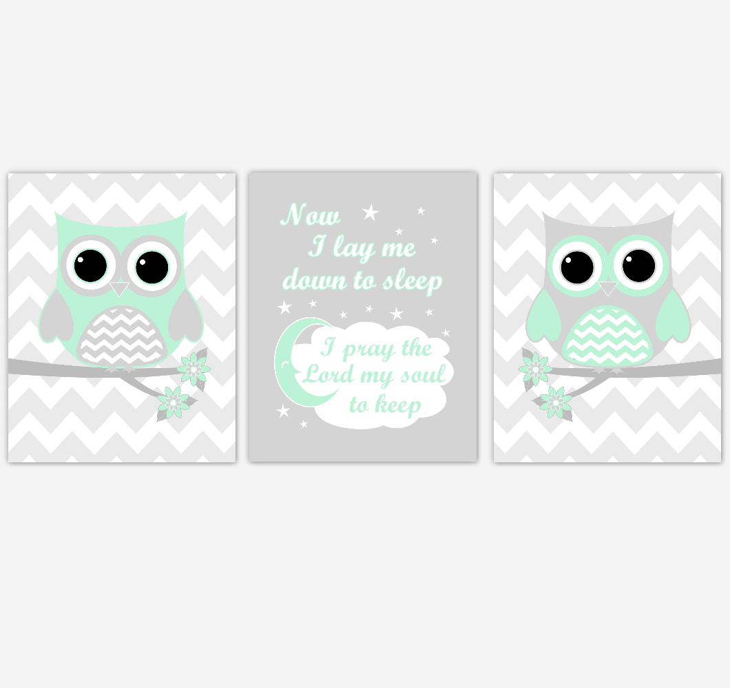 Owl Baby Girl Nursery Wall Art Mint Green Gray Birds Baby Nursery Decor Prints