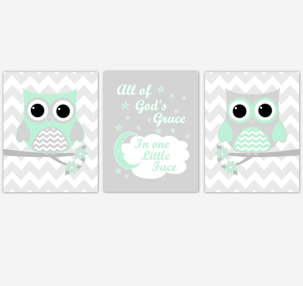 Owl Baby Girl Nursery Wall Art Mint Green Gray Birds Baby Nursery Decor Prints 01858