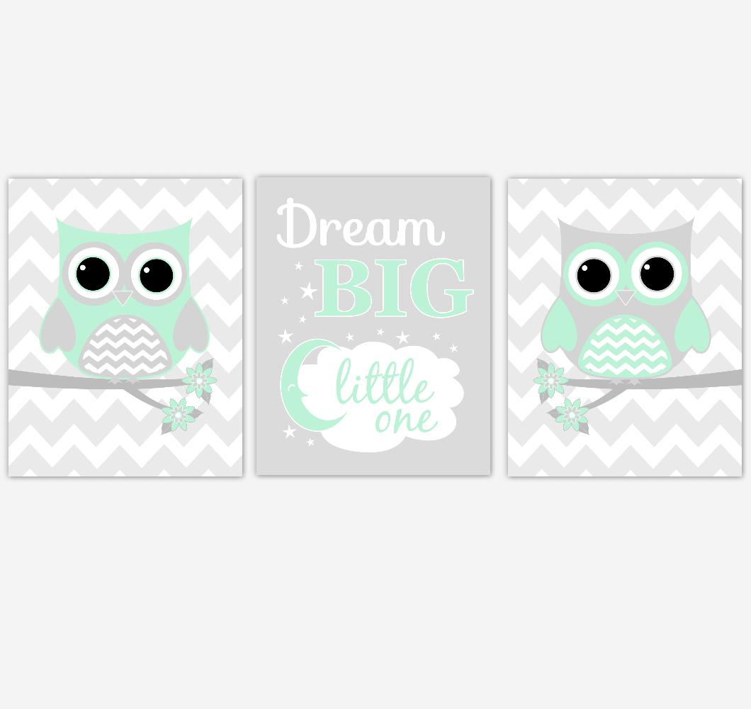 Owl Baby Girl Nursery Wall Art Mint Green Gray Birds Baby Nursery Decor Prints 01859
