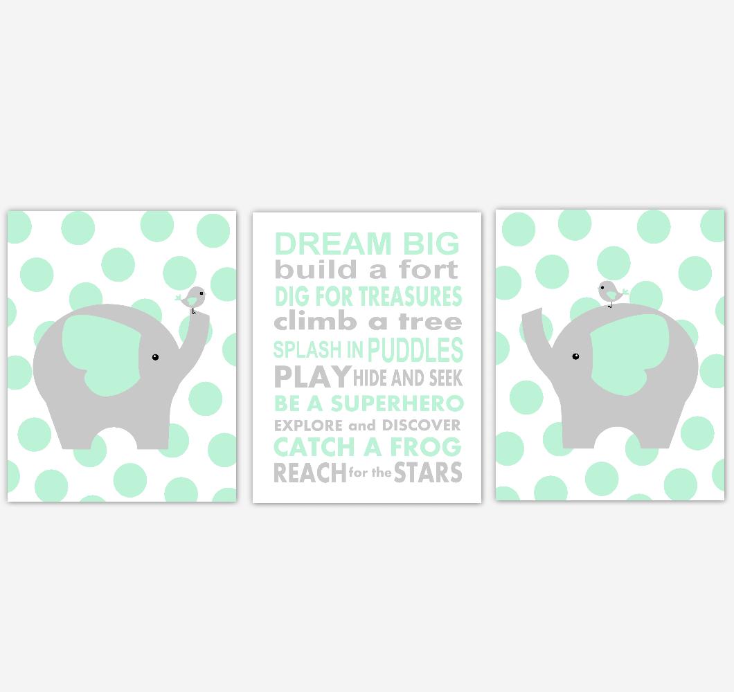 Elephant Baby Boy Nursery Wall Art Mint Green Gray Safari Animals Baby Nursery Decor Prints Dream Big 01864