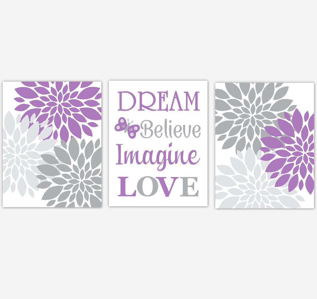 Purple Gray Dahlia Mum Flower Baby Girl Nursery Art Girl Bedroom Home Decor Baby Nursery Decor Prints 01866