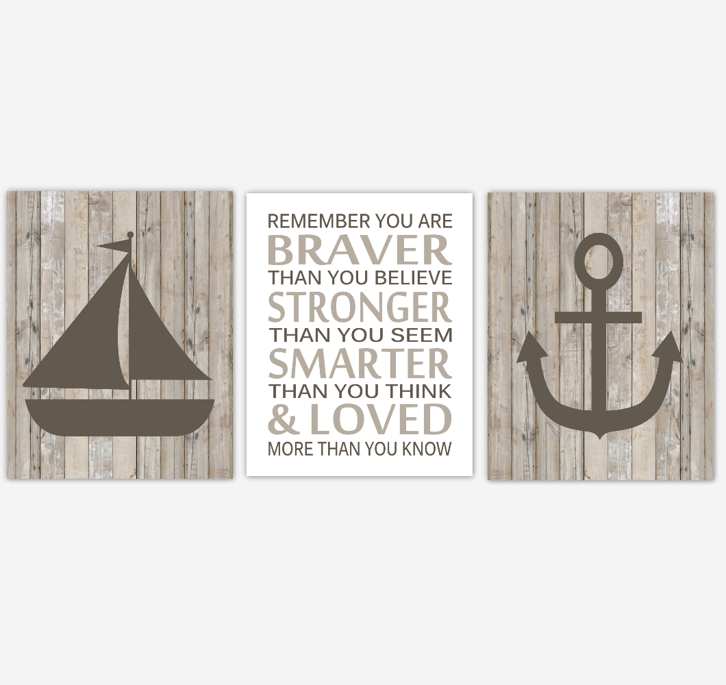 Nautical Baby Boy Nursery Wall Art Sailboat Anchor Dream Big Boy Bedroom Home Decor Rustic Farmhouse Baby Nursery Decor Prints