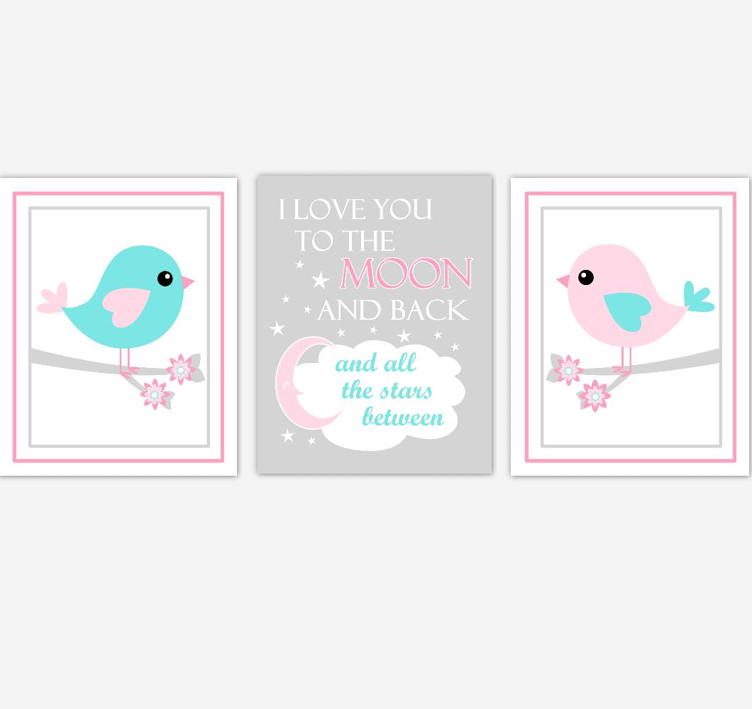 Birds Baby Girl Nursery Wall Art Pink Teal Aqua Baby Nursery Decor Prints Home Decor 01871