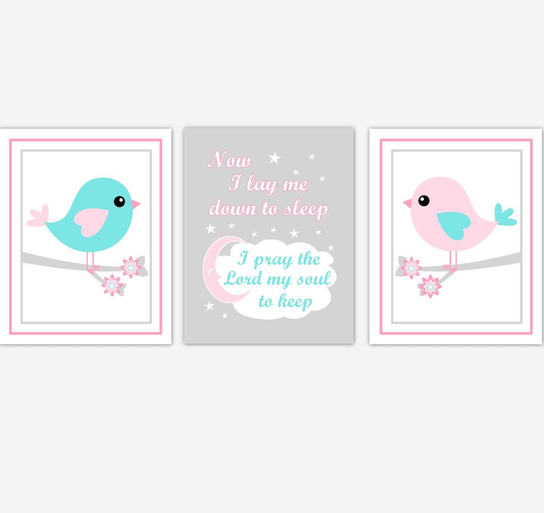 Birds Baby Girl Nursery Wall Art Pink Teal Aqua Baby Nursery Decor Prints Home Decor Now I Lay Me Down To Sleep 01873