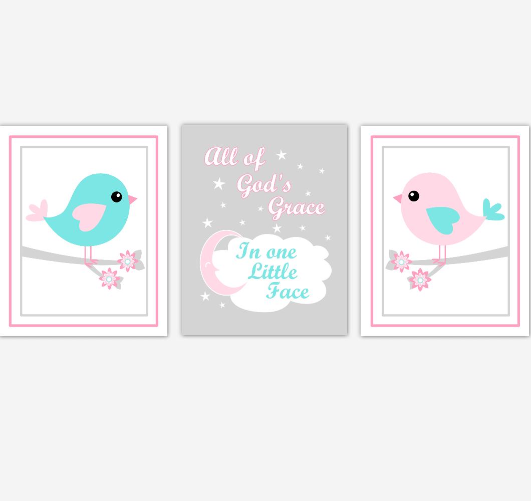 Birds Baby Girl Nursery Wall Art Pink Teal Aqua Baby Nursery Decor Prints Home Decor All Of Gods Grace 01874