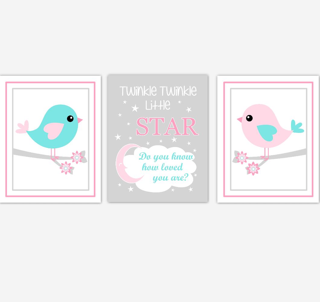 Birds Baby Girl Nursery Wall Art Pink Teal Aqua Baby Nursery Decor Prints Home Decor Twinkle Twinkle Little Star 01875