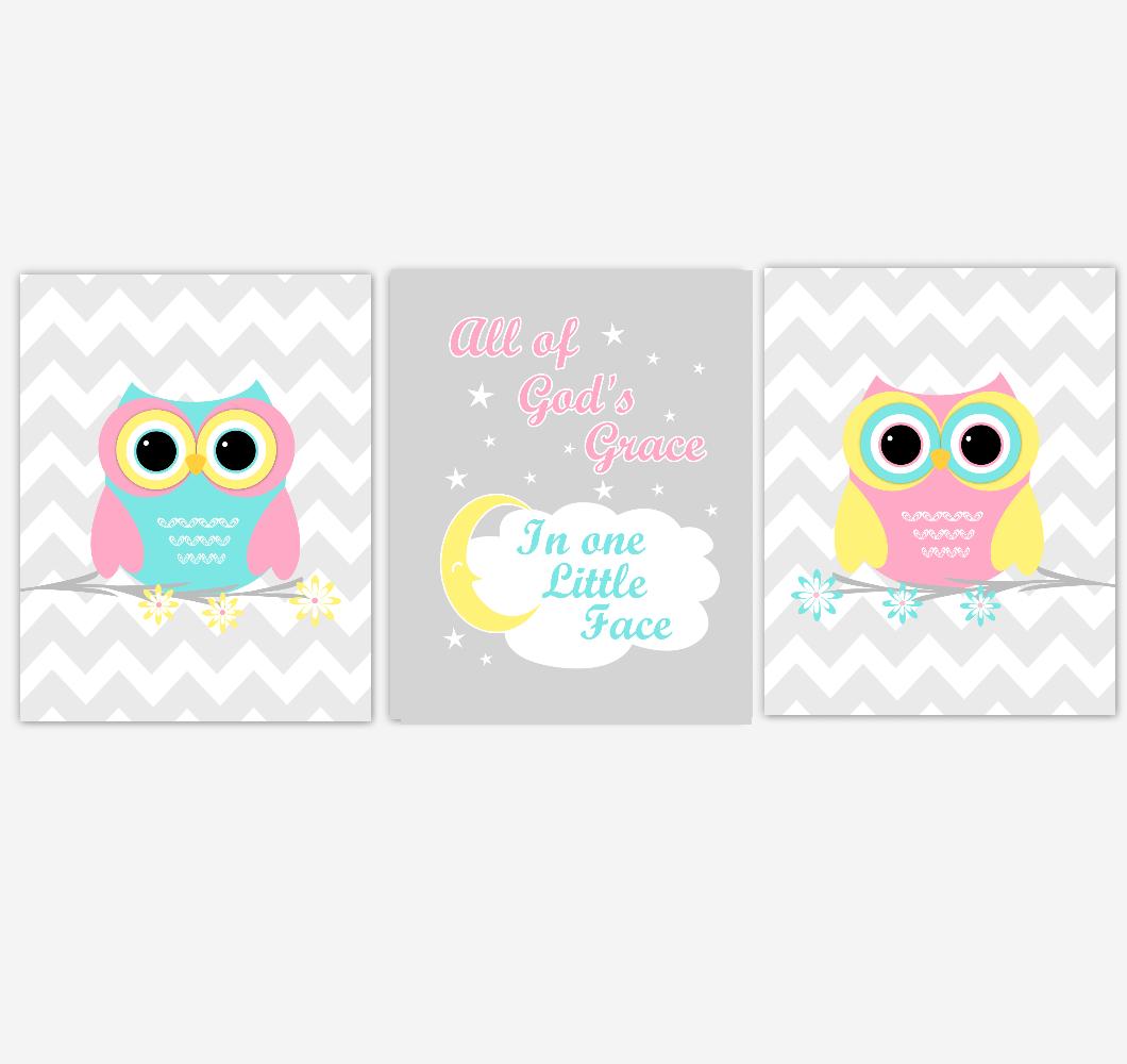 Owls Baby Girl Nursery Wall Art Pink Yellow Teal Aqua Gray Birds Baby Nursery Decor Prints All Of Gods Grace 01883