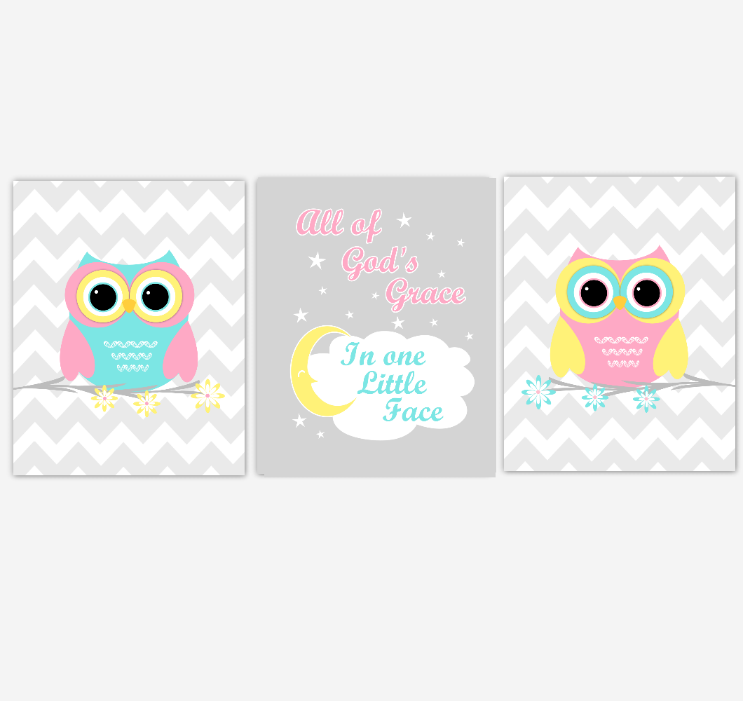 Owls Baby Girl Nursery Wall Art Pink Yellow Teal Aqua Gray Birds Baby Nursery Decor Prints All Of Gods Grace