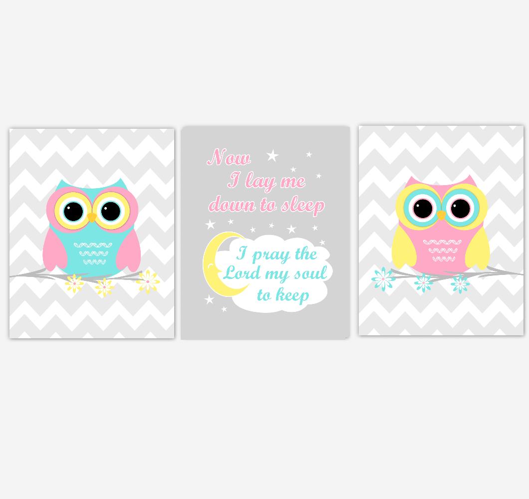 Owls Baby Girl Nursery Wall Art Pink Yellow Teal Aqua Gray Birds Baby Nursery Decor Prints Now I Lay Me Down To Sleep 01884