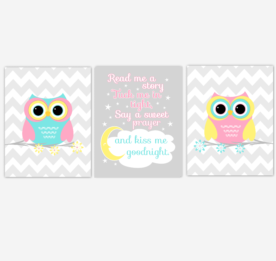 Owls Baby Girl Nursery Wall Art Pink Yellow Teal Aqua Gray Birds Baby Nursery Decor Prints Read Me A Story 01885