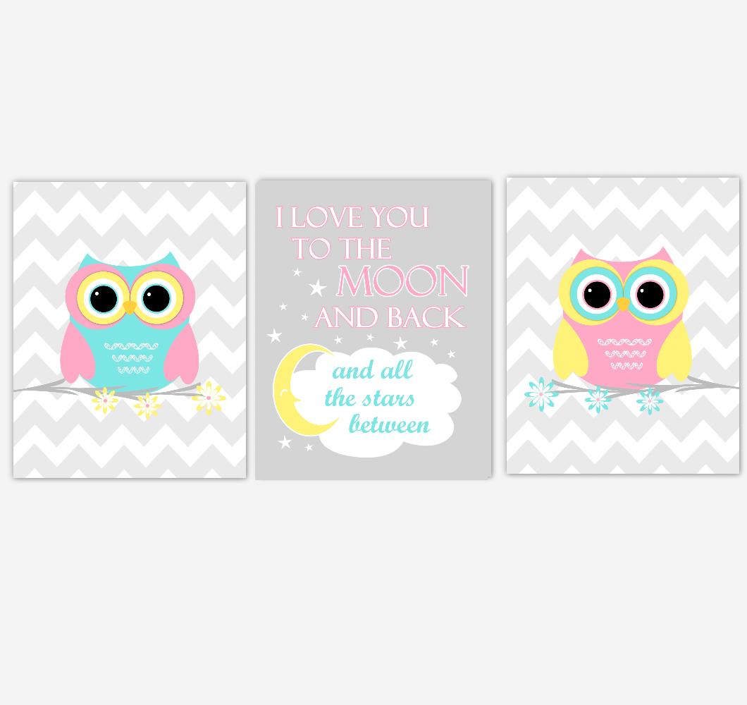 Owls Baby Girl Nursery Wall Art Pink Yellow Teal Aqua Gray Birds Baby Nursery Decor Prints I Love You To The Moon And Back 01886