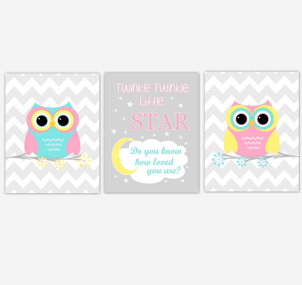 Owls Baby Girl Nursery Wall Art Pink Yellow Teal Aqua Gray Birds Baby Nursery Decor Prints Twinkle Twinkle Little Star