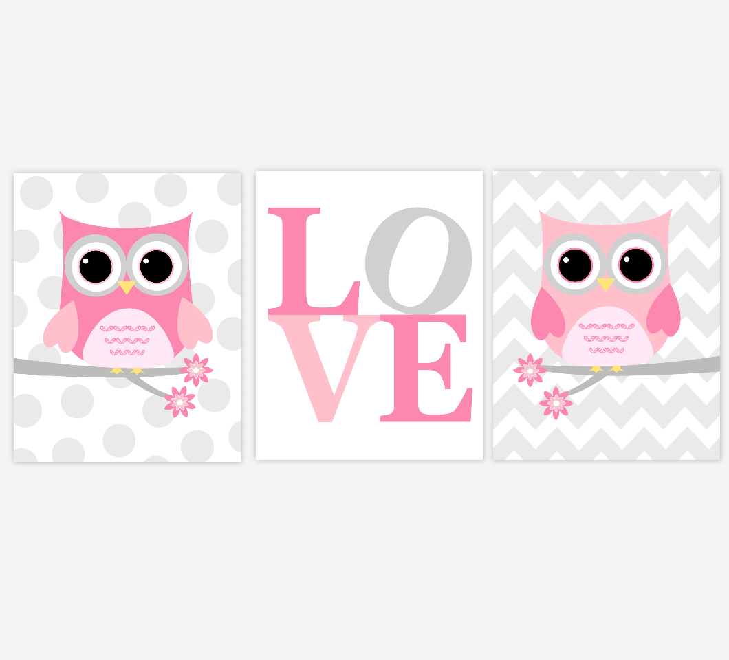 Pink Gray Baby Girl Nursery Wall Art Owls Owl Love Pink
