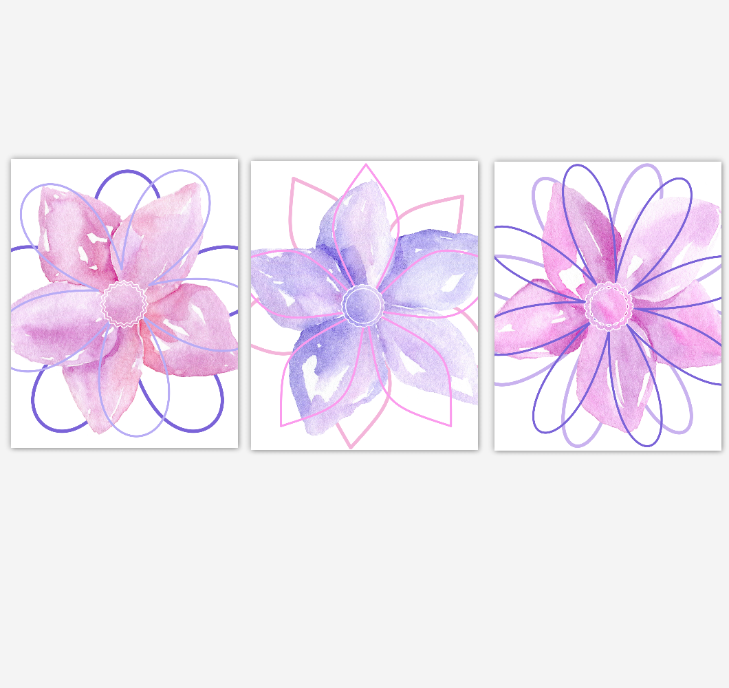 Watercolor Flower Wall Art Baby Girl Nursery Purple Pink Floral Wall Art Prints Home Decor SET OF 3 UNFRAMED PRINTS 01888