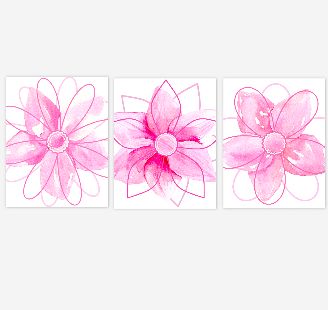 Watercolor Flower Wall Art Baby Girl Nursery Pink Shades Floral Wall Art Prints Home Decor SET OF 3 UNFRAMED PRINTS