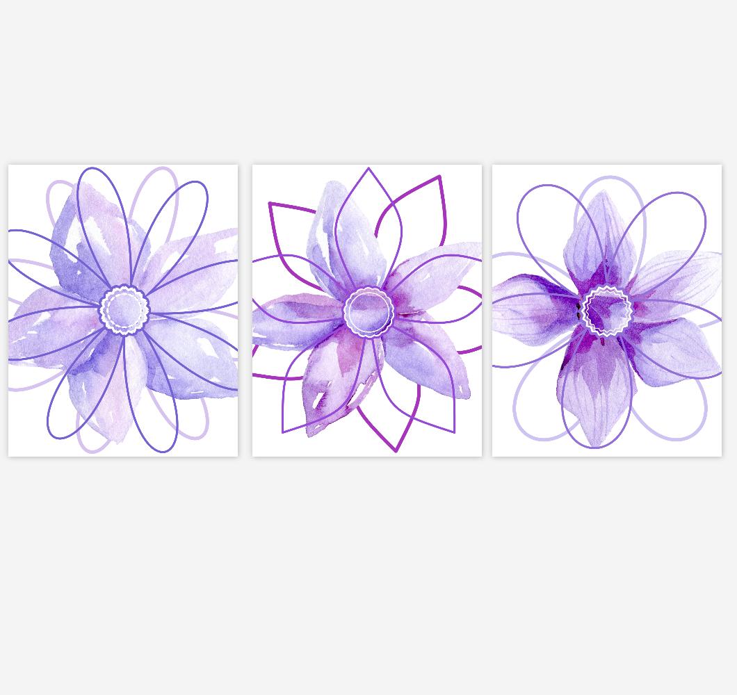 Watercolor Flower Wall Art Baby Girl Nursery Purple Shades Floral Wall Art Prints Home Decor SET OF 3 UNFRAMED PRINTS 01890
