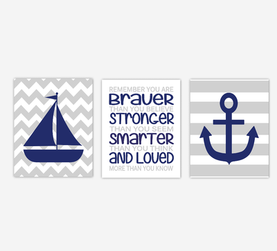 Baby Boy Nursery Wall Art Navy Blue Gray Grey Nautical Sailboat Anchor Winnie the Pooh Quote Boys Room Wall Art Decor You are Braver SET OF 3 UNFRAMED PRINTS