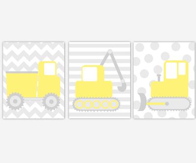 CONSTRUCTION Baby Boy Nursery Wall Art Yellow Gray Trucks Dump Truck Tractor Back Hoe Vehicles Boys Room Wall Art Baby Boy Nursery Decor Toddler Boy Prints Playroom Wall Art Home Decor