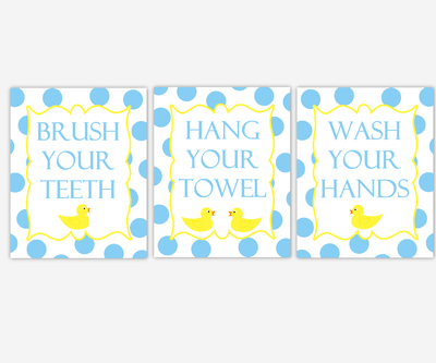 Kids Bath Wall Art Rubber Ducky Duck Yellow Blue Bubbles Brush Your Teeth Wash Your Hands Hang Your Towel Bathroom Rules Prints Children's Bathroom Prints Home Decor Bath SET OF 3 UNFRAMED PRINTS