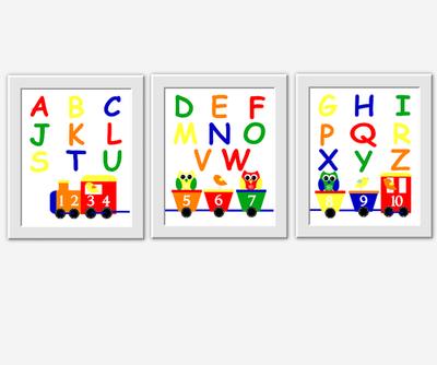 Baby Boy Nursery Wall Art Train ABC Alphabet Letters Numbers Owl Birds Owls Baby Boy Decor Playroom Wall Art Learning Art Primary Color Baby Nursery Decor Baby Boy Toddler Boy