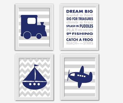 Navy Blue Gray Boy Wall Art Train Boat Sailboat Plane Dream Big Boy Room Wall Decor Baby Nursery Decor Blue Grey Transportation Art Prints