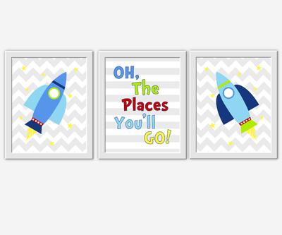Space Baby Nursery Art Boy Room Wall Decor Rocket Ship Oh The Places You'll Go Dr Seuss Gray Chevron Baby Nursery Decor Toddler Boy Art