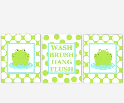 Frog Bath Wall Decor Lime Green Aqua Kids Bath Decor Bathroom Rules Wash Brush Hang Flush Frog Bath Decor Polka Dot Bath Prints
