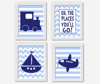 Baby Boy Nursery Decor Navy Blue Train Sailboat Boat Plane Airplane Oh The Places You'll Go Dr Seuss Quote Stripe Chevron Transportation Wall Art Prints