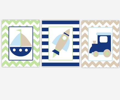 Boy Nursery Wall Art Navy Blue Green Train Sailboat Boat Nautical Dream Big Little One Boy Quotes Chevron Baby Nursery Decor SET OF 3 UNFRAMED PRINTS
