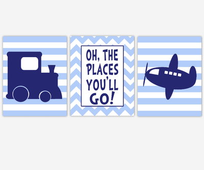 Boy Nursery Wall Art Navy Blue Transportation Train Airplane Plane Oh The Places You'll Go  Toddler Boy Bedroom Baby Nursery Decor SET OF 3 UNFRAMED PRINTS