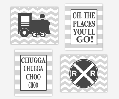 Baby Boy Nursery Art Charcoal Gray Train Railroad Sign Oh The Places You'll Go Toddler Boy Bedroom Baby Nursery Decor Chevron  SET OF 4 UNFRAMED PRINTS