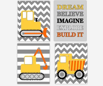 Baby Boy Nursery Wall Art Construction Trucks Yellow Gray Tractor Dump Truck Dream Believe Imagine Explore Build Toddler Boy Bedroom SET OF 4 UNFRAMED PRINTS OR CANVAS