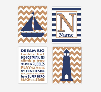 Nautical Baby Boy Nursery Art Navy Blue Sailboat Lighthouse Dream Big Personalized Art Baby Nursery Decor SET OF 4 UNFRAMED PRINTS
