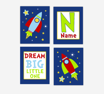 Baby Boy Nursery Wall Art Space Theme Rocket Ship Spaceship Personalized Name Dream Big Little One Baby Nursery Decor SET OF 4 UNFRAMED PRINTS