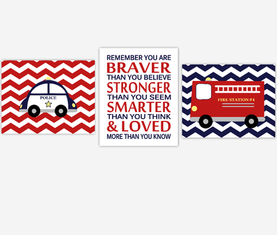 Baby Boy Nursery Wall Art Firetruck Police Car Navy Blue Red Remember You Are Braver Toddler Boy Bedroom Prints SET OF 3 UNFRAMED PRINTS