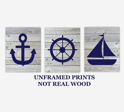 Nautical Baby Boy Nursery Wall Art Navy Blue Gray Rustic Wood Farmhouse Sailboat Anchor Captains Wheel Bath Prints SET OF 3 UNFRAMED PRINTS