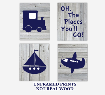 Transportation Baby Boy Nursery Art Train Airplane Boat Oh The Places You'll Go Baby Nursery Decor Rustic Farmhouse SET OF 4 UNFRAMED PRINTS