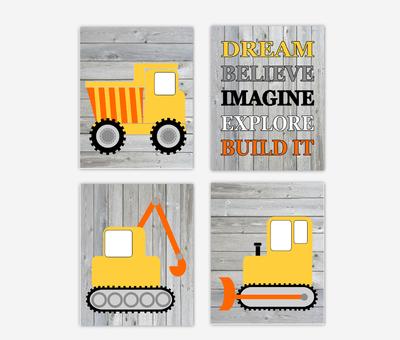 Construction Trucks Baby Boy Nursery Art Toddler Bedroon Playroom Art Baby Nursery Decor SET OF 4 UNFRAMED PRINTS