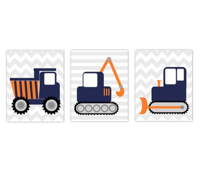 Construction Trucks Baby Boy Nursery Artwork Navy Blue Orange Tractor Dump Truck Boy Bedroom Prints SET OF 3 UNFRAMED PRINTS