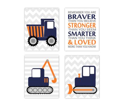 Baby Boy Nursery Art Construction Trucks Navy Blue Orange Tractor Dump Truck Remember You Are Braver Toddler Boy Bedroom SET OF 4 UNFRAMED PRINTS