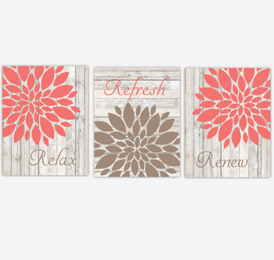 Coral Bath Art Dahlia Mums Flower Wall Art Home Decor Relax Refresh Renew Spa Bath Rustic Wood Farmhouse Style