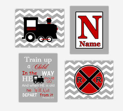 Train Baby Boy Nursery Wall Art Red Black Train Railroad Sign Train Up Proverb Personalized Chevron Toddler Boy Bedroom