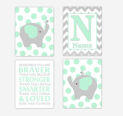 Mint Green Elephants Baby Nursery Wall Art Prints Personalized Baby Nursery Decor Remember You Are Braver Gender Neutral Baby Decor